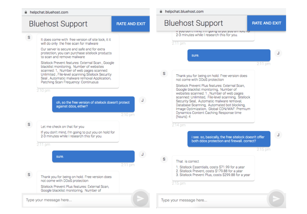 Bluehost live chat support about security