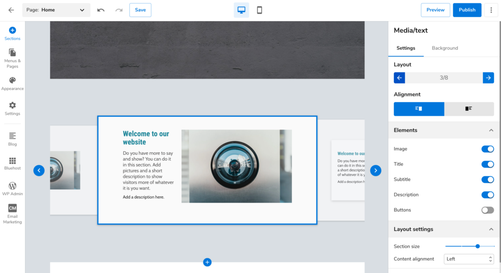 Bluehost website builder layout choices