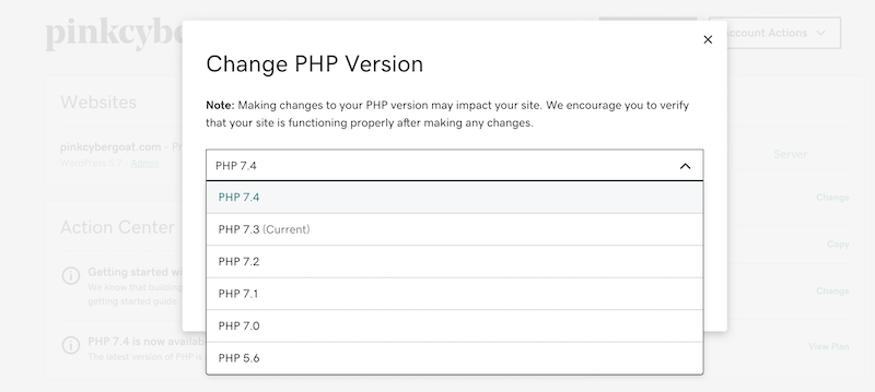 Changing PHP version in GoDaddy