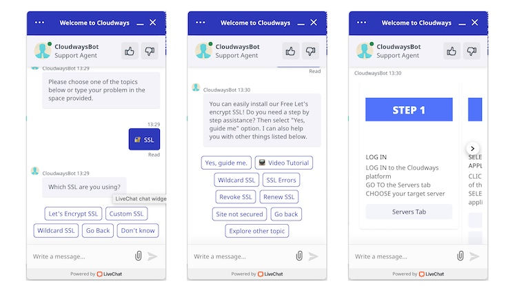 Chat with Cloudways chatbot