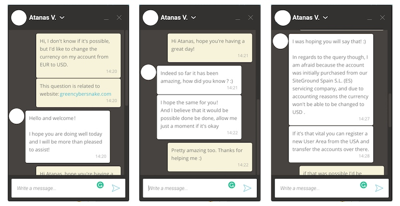 Chat with SiteGround customer support