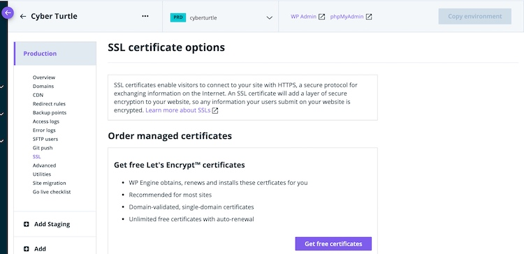 Choosing free SSL with WP Engine