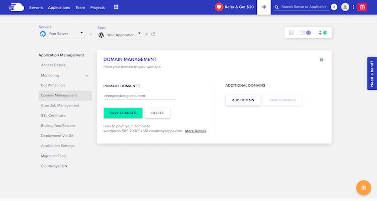 Cloudways domain management and adding new domain