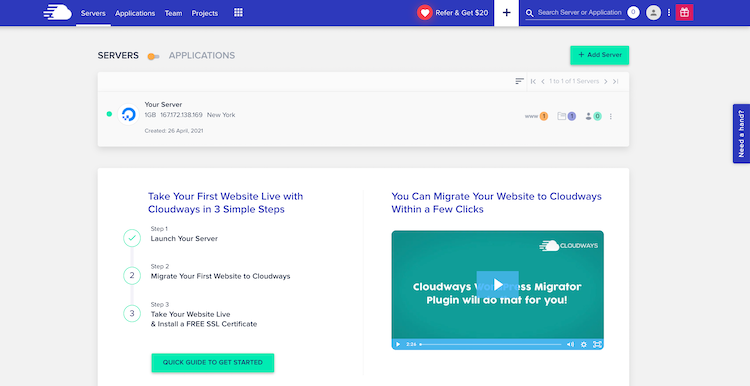 Cloudways main account dashboard and server window