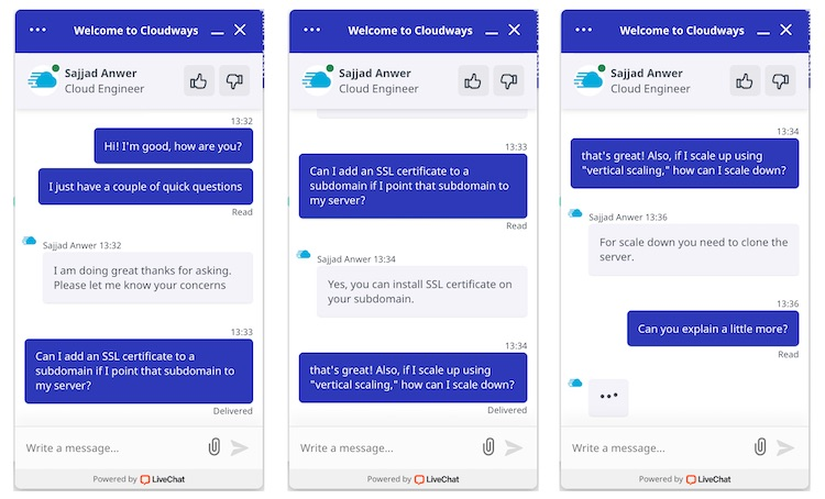 Cloudways technical customer support live chat 1
