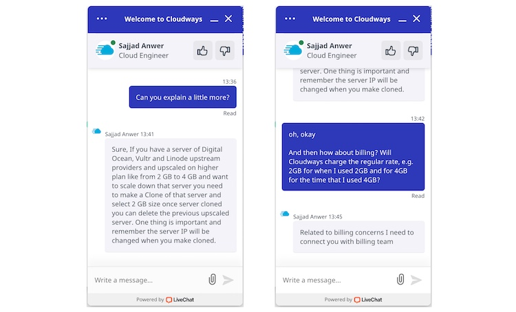 Cloudways technical customer support live chat 2