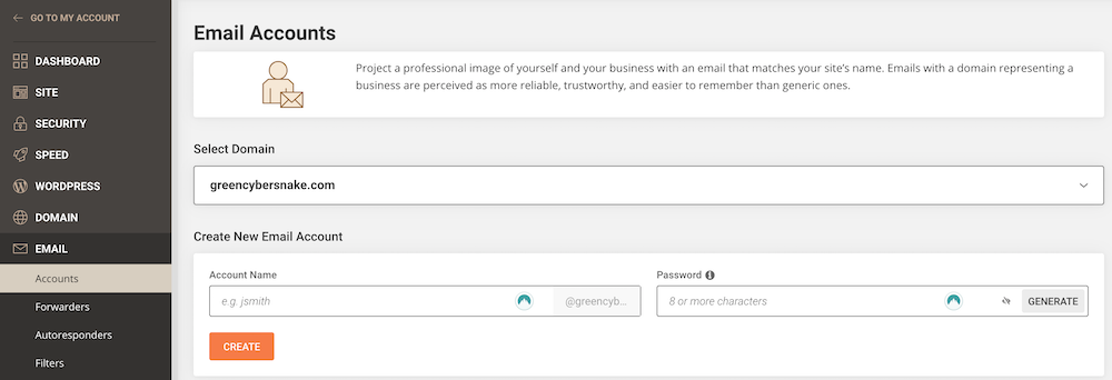 Creating SiteGround email account