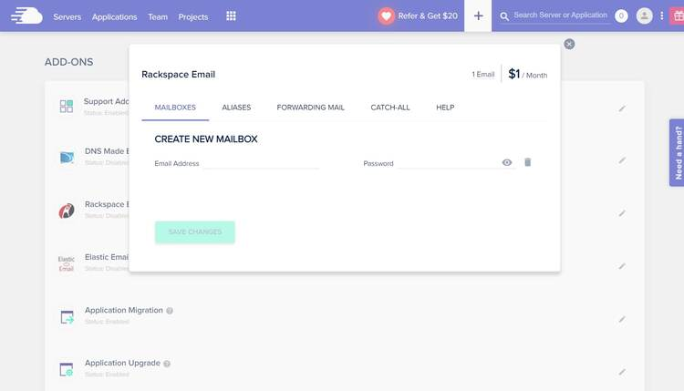 Creating an email account with Cloudways