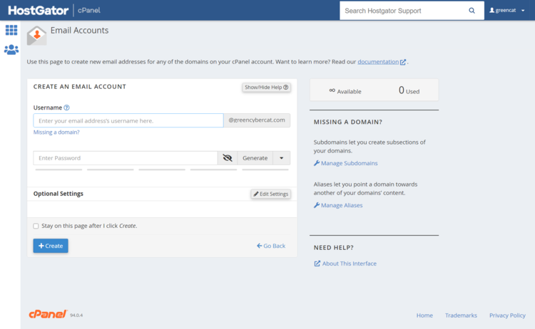 Creating an email account with HostGator in cPanel