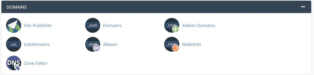 A2 Hosting Domains section in cPanel