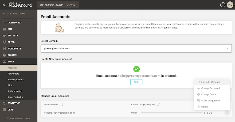 Email accounts managment area in SiteGround control panel