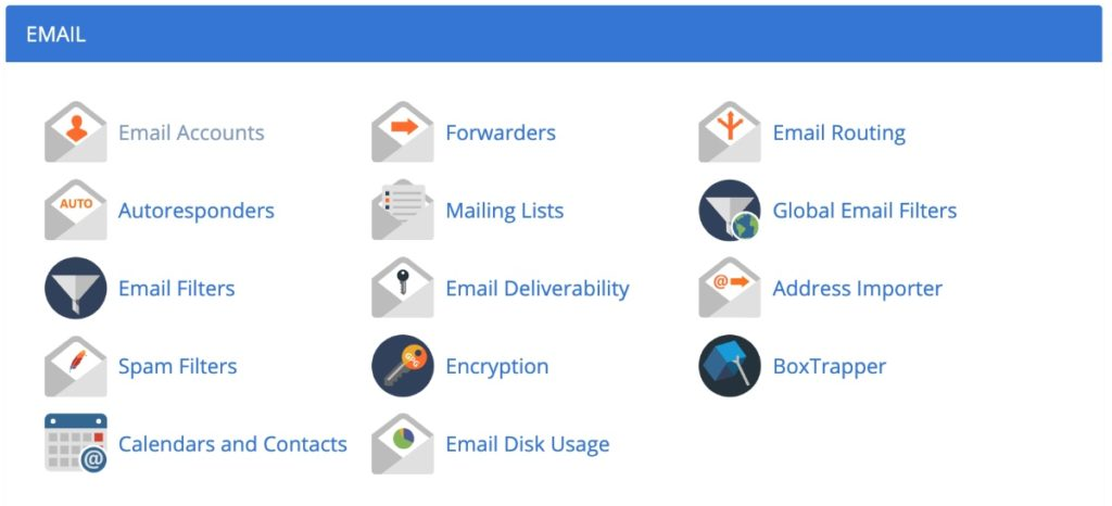 Email section in Bluehost cPanel
