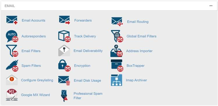 Email section in the InMotion Hosting cPanel