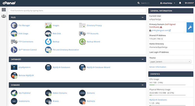 GoDaddy cPanel control panel interface