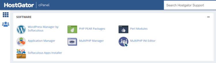 HostGator Software section in cPanel