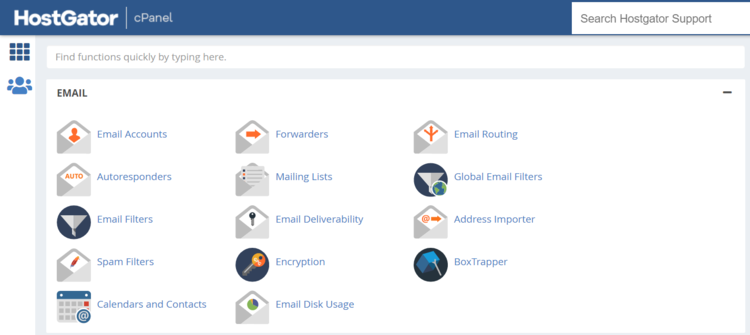 HostGator email section in cPanel