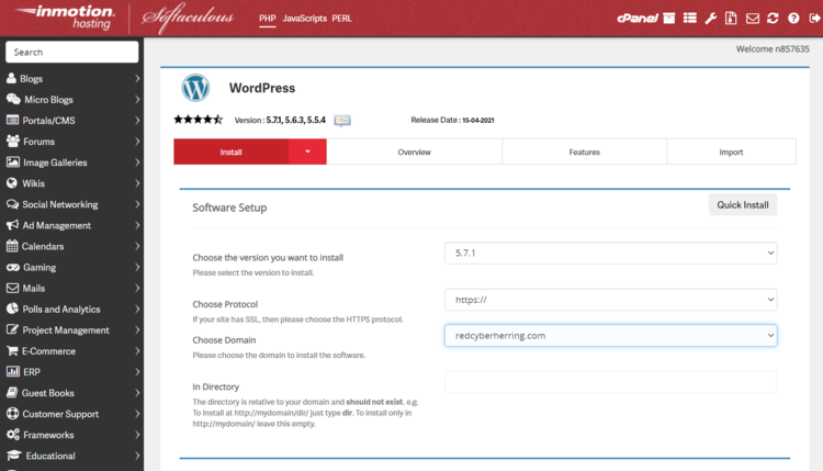 Information fields while installing WordPress on InMotion Hosting