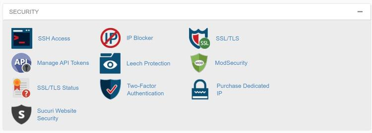 Security section in the InMotion Hosting cPanel