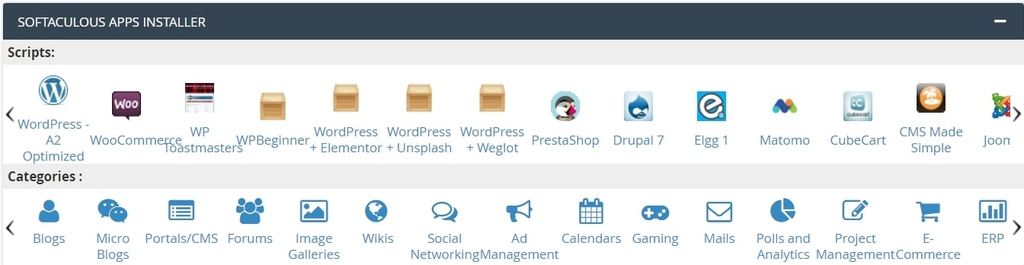 A2 Hosting Softaculous app installer in cPanel