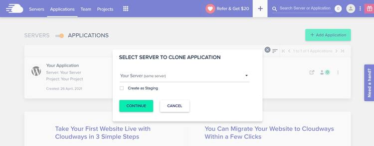 Staging a website with Cloudways 1