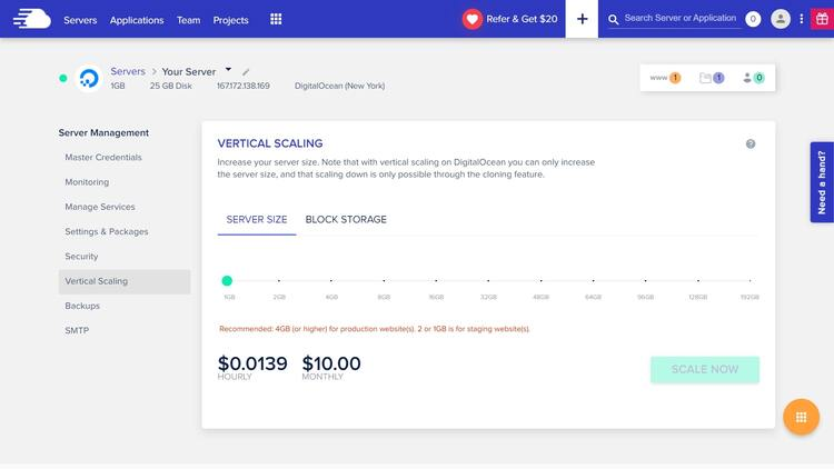 Vertical scaling with Cloudways