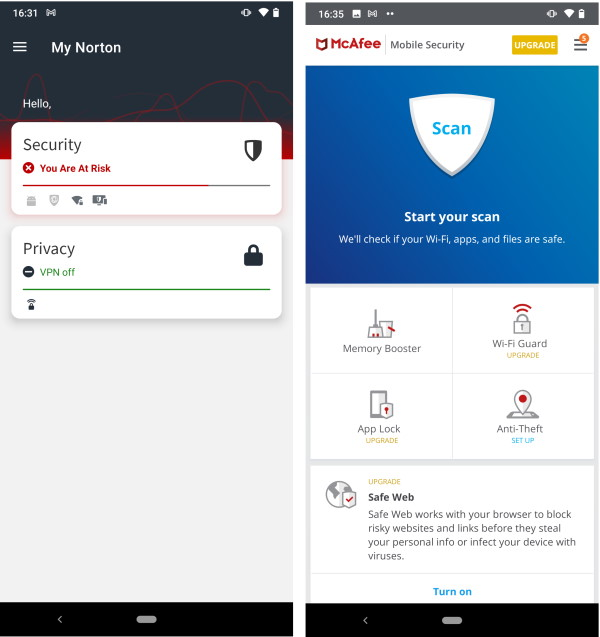 Norton and McAfee Android apps in comparison