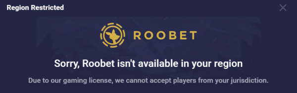 Roobet casino blocked message