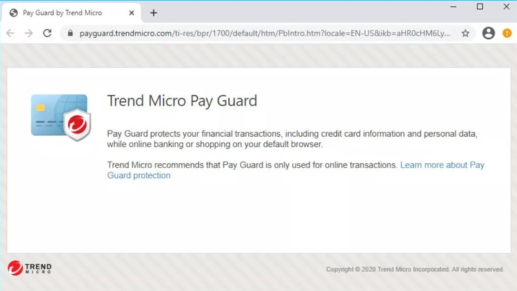 Trend Micro Pay Guard secures online financial transactions on a default browser