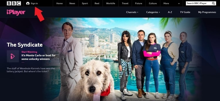 BBC iPlayer website sign in screenshot