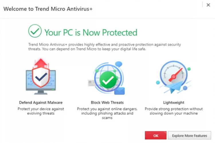 Your PC is Now Protected message after successful Trend Micro Antivirus installation