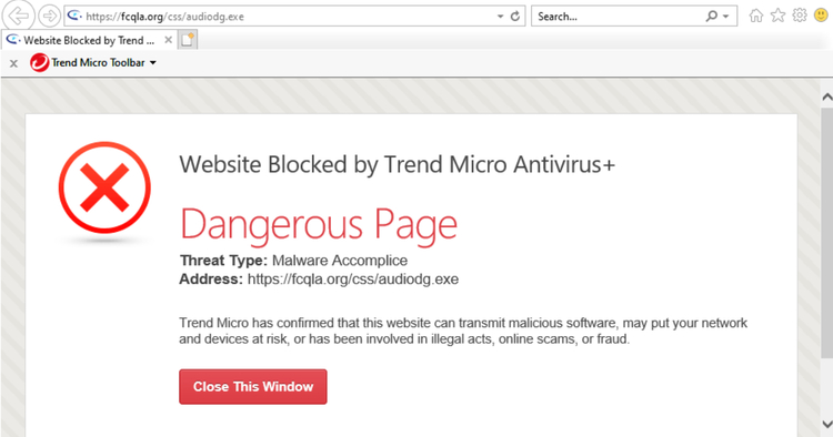 Website blocked by Trend Micro due to suspicious URL
