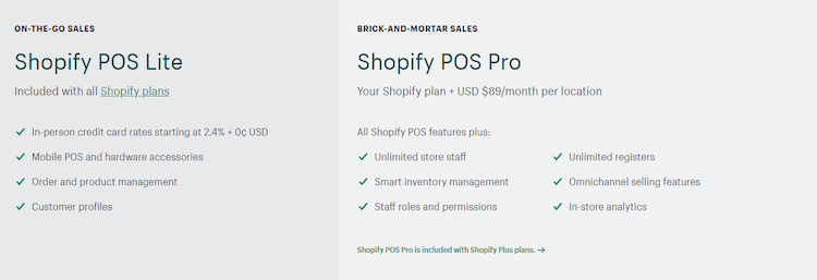 shopify point of sale plans
