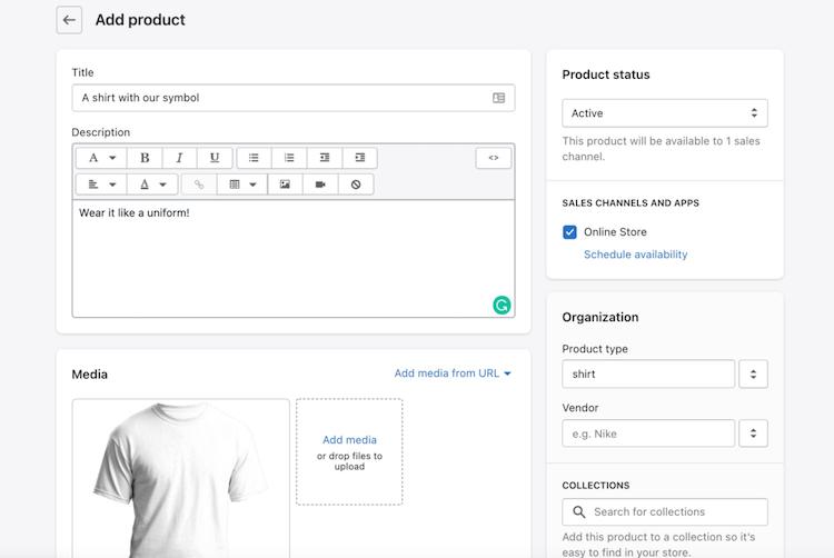shopify editing product