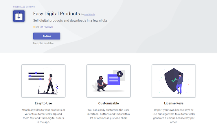 shopify easy digital products