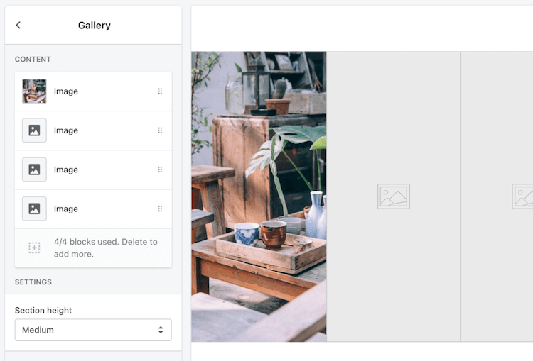 shopify editing gallery
