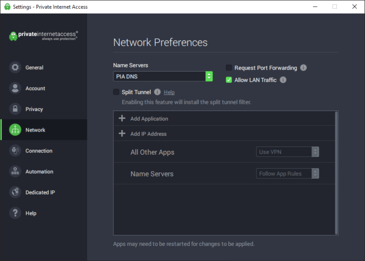 Private Internet Access VPN networking preferences user interface