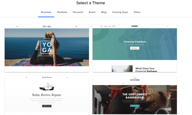 selecting a weebly template