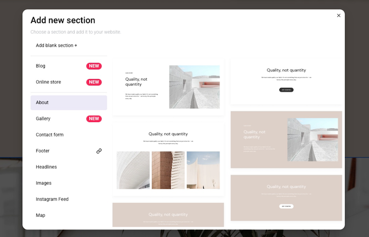 adding new section on zyro