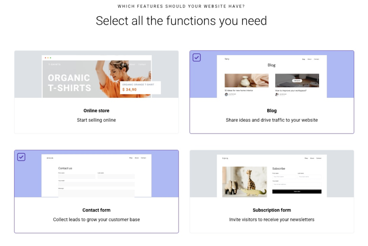 zyro ai select functions