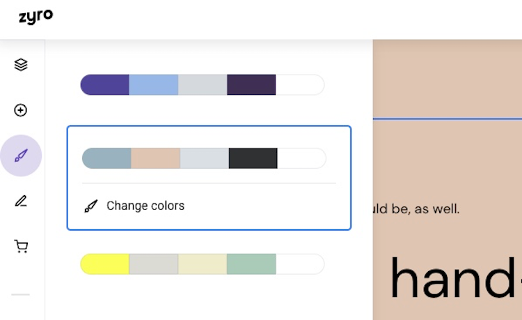 zyro section color settings