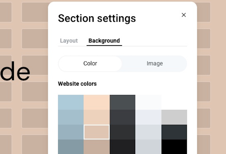 section color settings