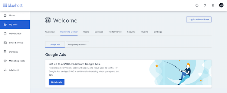 Bluehost's extra feature - marketing center