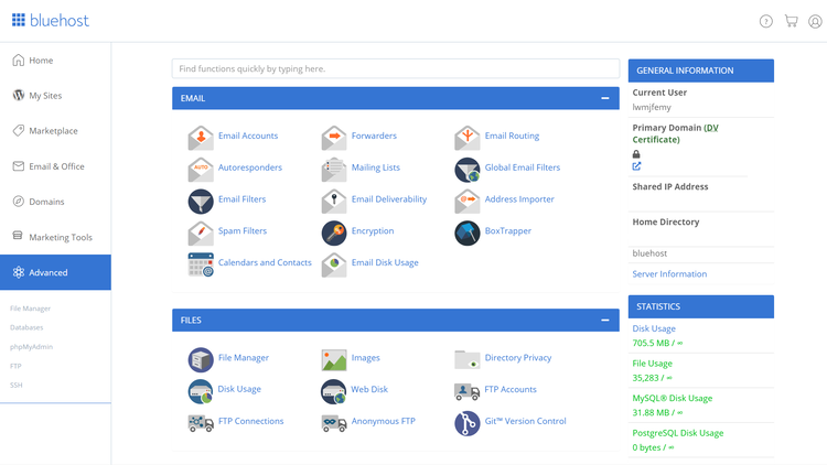 Bluehost cPanel view