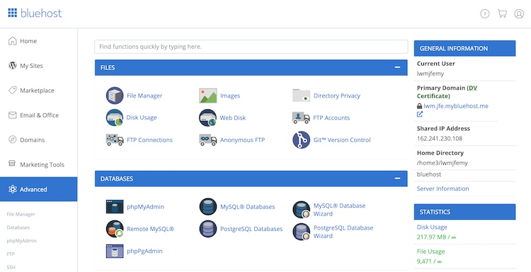 Bluehost cPanel control panel