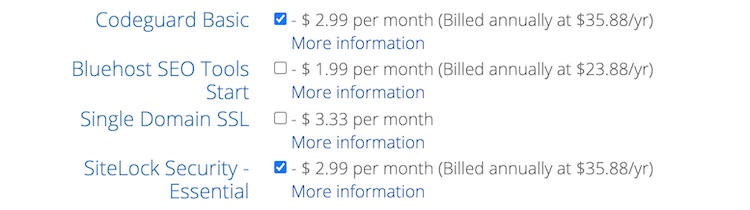 Bluehost paid security features