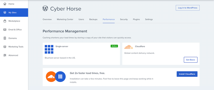 Bluehost's website performance management section