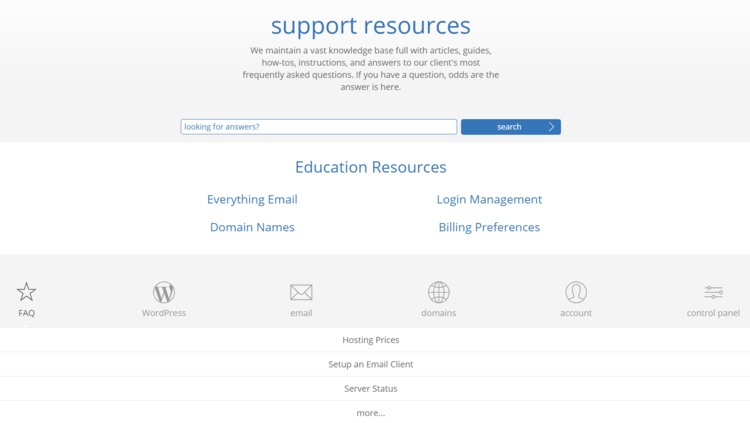 Bluehost's knowledge base options