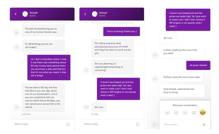 Live chat with WP Engine's sales team