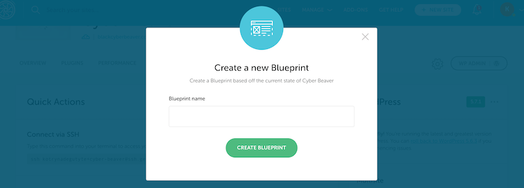 Creating a new Blueprint with Flywheel