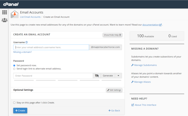 Creating an email account with HostPapa